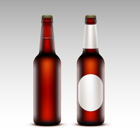 tempting: Vector Set of  Closed Blank Glass Transparent Brown Bottles of  Dark Red Beer with without White labels for Branding Close up Isolated on White Background Illustration