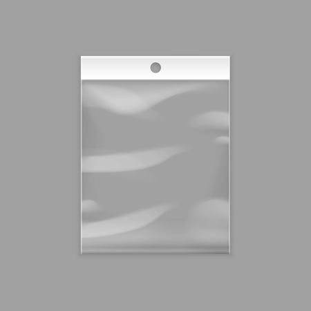 Vector Sealed Empty Transparent Plastic Pocket Bag with Hang Slot Close up Isolated on Background  イラスト・ベクター素材