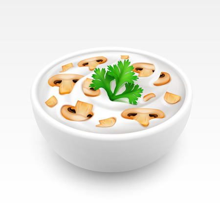 mayonnaise: Bowl of Sour Cream Sauce Mayonnaise with Green Parsley and Sliced Champignons Close up Isolated on White Background Illustration