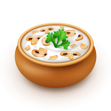 dipping: Ceramic Pot of Sour Cream Sauce Mayonnaise with Green Parsley and Sliced Champignons Close up Isolated on White Background