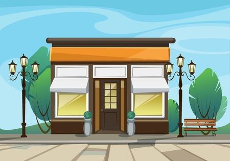 Vector Old Europian Magasin Boutique Store Front avec Big Windows, Lieu Nom, Verdure et de la rue Lanternes Vecteurs