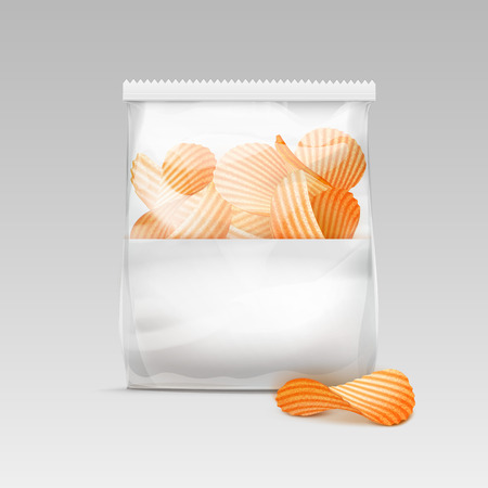 plastic bag: Vector White Vertical Sealed Transparent Plastic Bag for Package Design with Potato Ripple Crispy Chips Close up Isolated on White Background