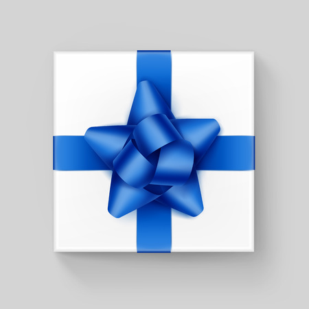 up view: Vector White Square Gift Box with Shiny Blue Ribbon Bow Close up Top view Isolated on Background
