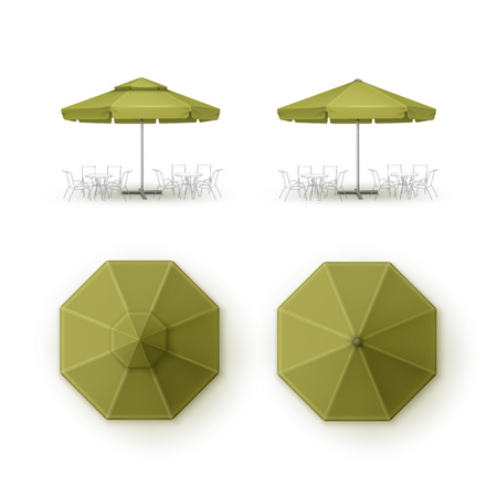 patio set: Vector Set of Green Blank Patio Outdoor  Market Beach Cafe Bar Pub Restaurant Round Umbrella Parasol  for Branding Top Side View Mock up Close up Isolated on Background