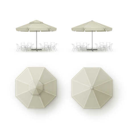 patio set: Vector Set of White Beige Blank Patio Outdoor  Market Beach Cafe Bar Pub Restaurant Round Umbrella Parasol  for Branding Top Side View Mock up Close up Isolated on Background Illustration