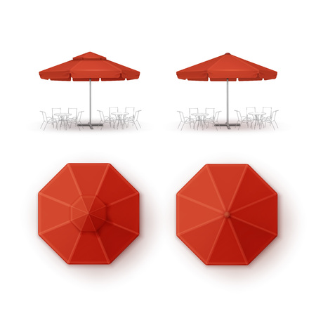 patio set: Vector Set of Red Blank Patio Outdoor Market Beach Cafe Bar Pub Restaurant Round Umbrella Parasol  for Branding Top Side View Mock up Close up Isolated on White Background