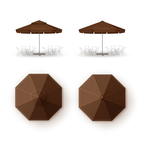 patio set: Vector Set of Brown Blank Patio Outdoor Market Beach Cafe Bar Pub Restaurant Round Umbrella Parasol  for Branding Top Side View Mock up Close up Isolated on White Background Illustration