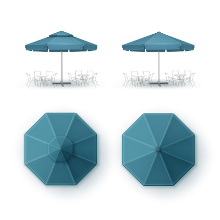 patio set: Vector Set of Blue Blank Patio Outdoor Market Beach Cafe Bar Pub Restaurant Round Umbrella Parasol  for Branding Top Side View Mock up Close up Isolated on White Background Illustration