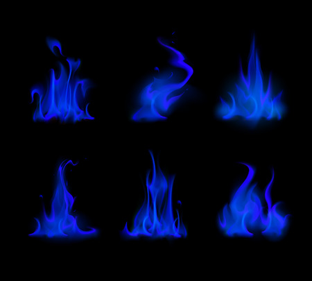 sizzling: Vector Set of  Different Blue Fire Flame Bonfire Isolated on Background Illustration