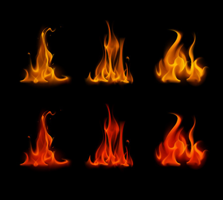 scorch: Vector Set of  Different Yellow Orange Red Scarlet Fire Flame Bonfire Isolated on Background Illustration