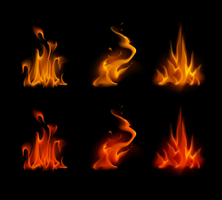 sizzling: Vector Set of  Different Yellow Orange Red Scarlet Fire Flame Bonfire Isolated on Background Illustration