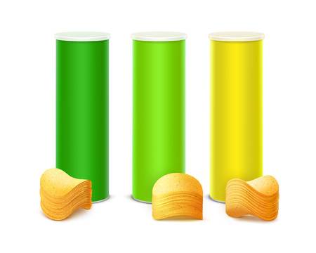 Vector Set of Colored Light Green Yellow Tin Box Container Tube for Package Design with Stack of Potato Crispy Chips Close up Isolated on White Background