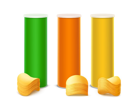 Vector Set of Colored Green Orange Yellow Tin Box Container Tube for Package Design with Stack of Potato Crispy Chips Close up Isolated on White Background