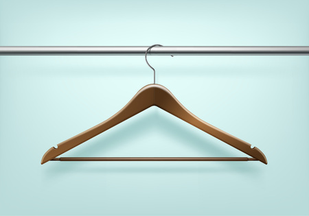 Vector Clothes Coat Wooden Hanger Close Up Isolated on Background
