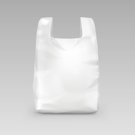 commercial recycling: Vector White Empty Disposable Plastic Shopping Bag with Handles Close up Isolated on Background Illustration