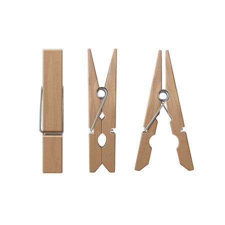 Vectorreeks houten wasknijpers haringen voor zijaanzicht Close-up geïsoleerd op een witte achtergrond