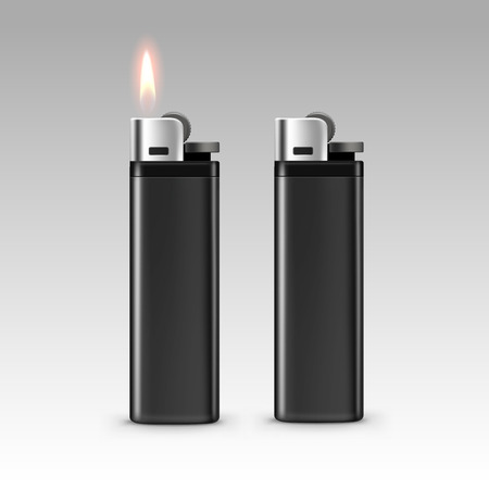 encendedores: Vector Blank Black Plastic Lighters with Flame Close up Isolated on White Background