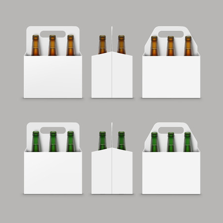 light brown background: Vector Closed Blank Glass Transparent Brown Green Bottles of Light Dark Beer with Carton Packaging for Branding Front Side View Close up Isolated on Background
