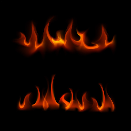 sizzling: Vector Set of  Different Red Fire Flame Bonfire  Isolated on Background
