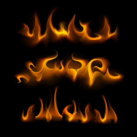 sizzling: Vector Set of  Different Yellow Orange Fire Flame Bonfire Isolated on Background