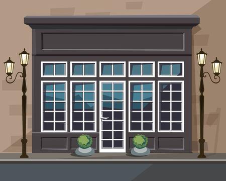 Vector Old Europian Shop Boutique Museum Restaurant Cafe Store Front met grote ramen, plek voor Naam, Greenery, straatlantaarns en klinkers Vector Illustratie