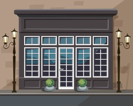 europian: Vector Old Europian Shop Boutique Museum Restaurant Cafe Store Front with Big Windows, Place for Name, Greenery, Street Lanterns and Paving Stones Illustration