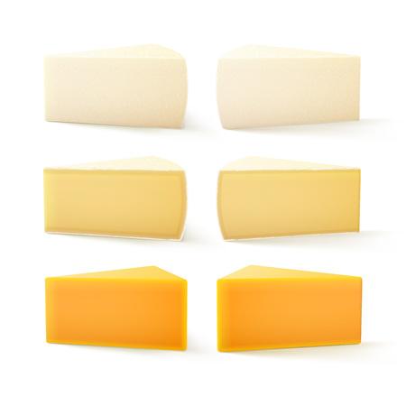 queso blanco: Vector Conjunto de piezas triangulares de diversos tipos de queso suizo Cheddar Bri camembert de cerca aisladas sobre fondo blanco Vectores