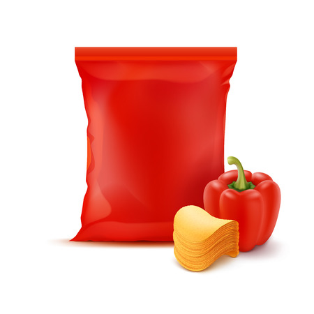isolated: Vector Stack of Potato Crispy Chips with Paprika and Vertical Sealed Empty Red Plastic Foil Bag for Package Design Close up Isolated on White Background