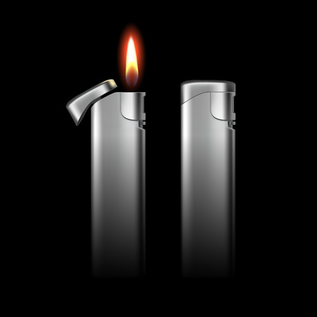 encendedores: Vector Blank Metal Lighters with Flame Close up Isolated on Black Background