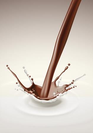 Vector Milk Chocolate Splash Stream Flow Close up Isolated on Background