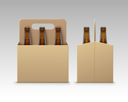 light brown background: Vector Closed Blank Glass Transparent Brown Bottles of Light Dark Beer with Carton Packaging for Branding Front Side View Close up Isolated on White Background