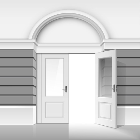 white door: Vector Classic Shop Museum Boutique Building Store Front with Open Front Glass Door and Place for Name Isolated on White Background Illustration