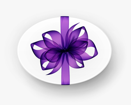 purple ribbon: Vector White Round Oval Gift Box with Transparent Purple Bow and Ribbon Top View Close up Isolated on Background Illustration
