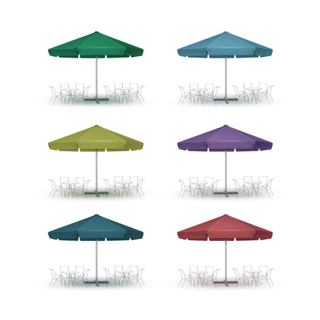 Vector Set of Colored Blue Green Purpule Blank Patio Outdoor Market Beach Cafe Bar Pub Restaurant Round Umbrella Parasol  for Branding  Front Side View Mock up Close up Isolated on White Background