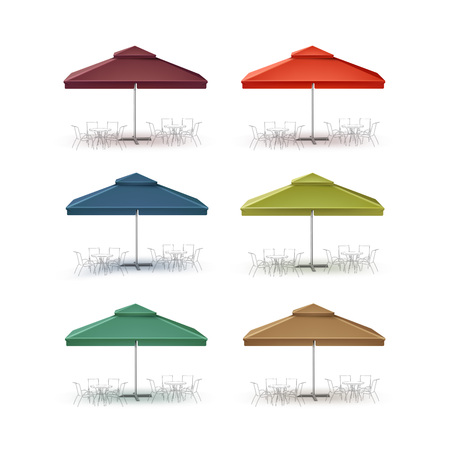 patio set: Vector Set of Blue Red Green Brown Blank Patio Outdoor Market Beach Cafe Bar Pub Restaurant Square Umbrella Parasol  for Branding Side Front View Mock up Close up Isolated on White Background