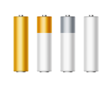 polarity: Vector Set of White Golden Yellow Silver Gray Glossy Alkaline AA Batteries Of Diffrent Color for branding Close up Isolated on White background Illustration