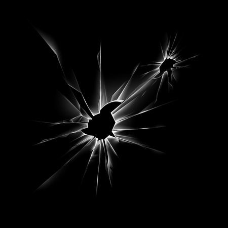Transparent Broken Shattered Crack Glass Window with Sharp Edges Close up Isolated on Dark Black Background