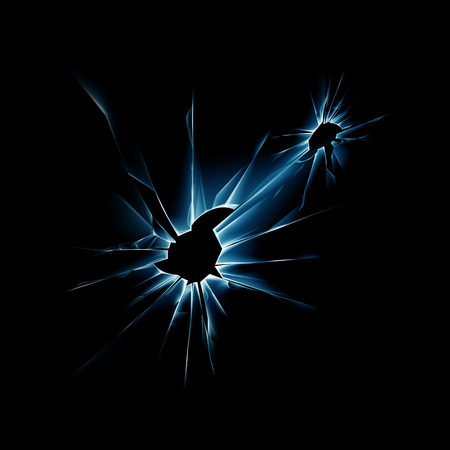 radial cracks: Blue Broken Shattered Crack Glass Window with Sharp Edges Close up on Dark Black Background