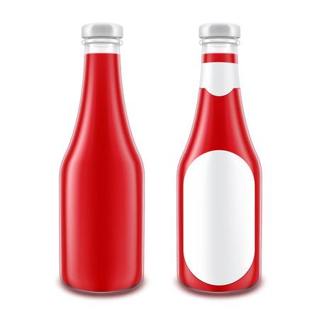 Set Blank Glass Red Tomato Ketchup-Flasche für das Branding, ohne mit runden Etikett isoliert auf weißem Hintergrund