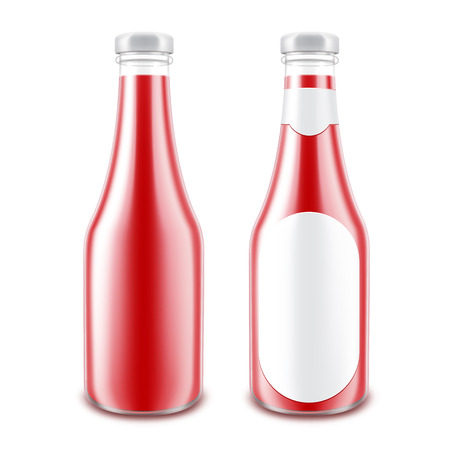 nutritive: Set of Blank Glass Glossy Red Tomato Ketchup Bottle for Branding without with Round Label Isolated on White Background