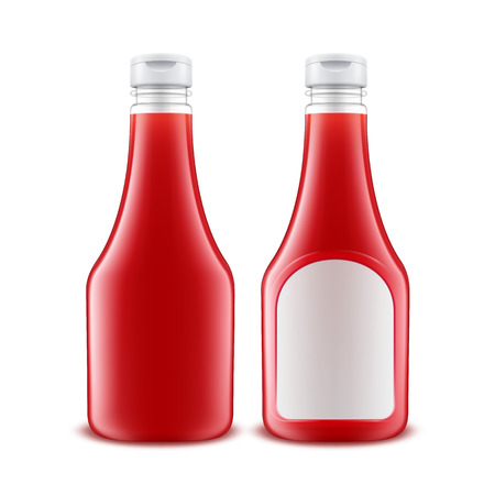 nutritive: Set of Blank Glass Plastic Red Tomato Ketchup Bottle for Branding with White label Isolated on White Background Illustration