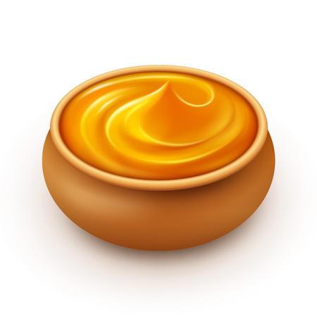 dense: Ceramic Pot of dense Amber Honey Close up Isolated on White Background