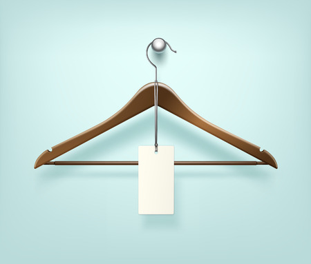 empty warehouse: Clothes Coat Brown Wooden Hanger with Sale Blank Label Close Up Isolated on Background