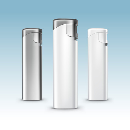 encendedores: Conjunto de blanco en blanco de metal y plástico encendedores cerca aisladas en el fondo Vectores