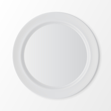 table setting: White Empty Flat Round Plate Top View Isolated on White Background. Table Setting