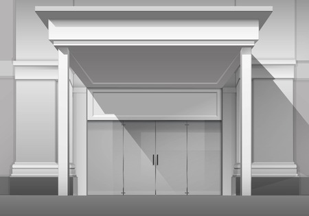 boutique display: Classic Shop  Boutique Building Store Front with Closed Glass Front Door, Columns, Roof  Visor and Place for Name Isolated on White Background Illustration