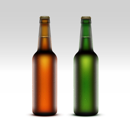 condensation: Vector Set of  Closed Blank Glass Transparent Brown Green Yellow Orange Frosty Bottles of  Light Beer with Drops of Water without labels for Branding Close up Isolated on White Background Illustration