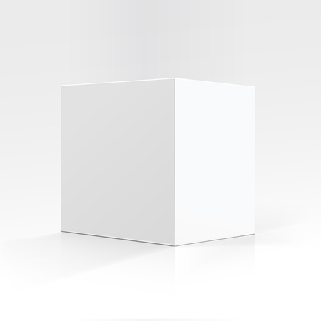 Vector Blank White Square Carton box in Perspective for package design Close up Isolated on White Background