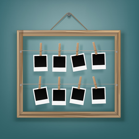 clothespeg: Vector Set of Wooden Clothespins Pegs whith Blank Retro Photo Frames and Picture Frame on Rope Close up Isolated on Background