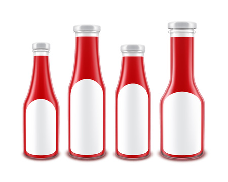 nutritive: Vector Set of Blank Glass Red Tomato Ketchup Bottles of different Shapes for Branding with White labels Isolated on White Background